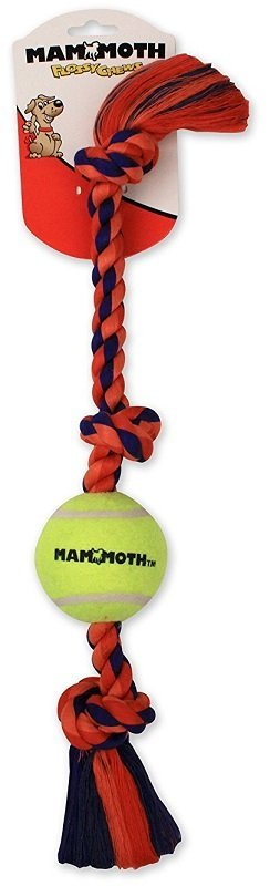 Mammoth Flossy Chews Color 3-Knot Tug with Tennis Ball