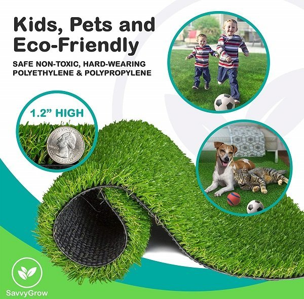 SavvyGrow Artificial Grass for Dogs Pee Pads - Premium 4 Tone Puppy Potty Training, Easy to Clean with Drain Holes
