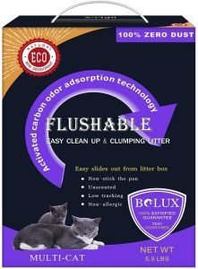 7. Bolux Flushable Cat Litter, Low Tracking Clumping Tofu Cat Litter, Non-Allergic Unscented