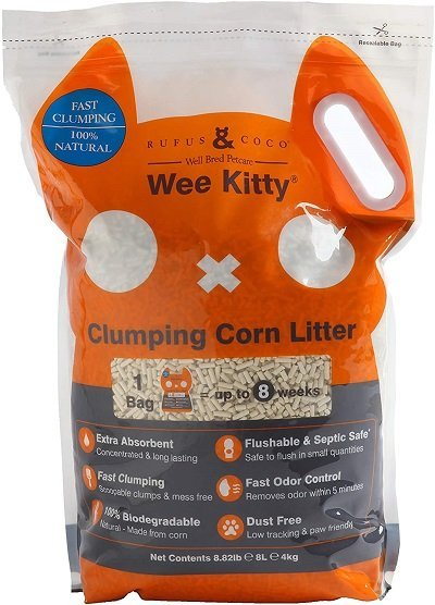 Weekitty Natural Flushable Clumping Cat Litter - Low Tracking Biodegradable Pellets